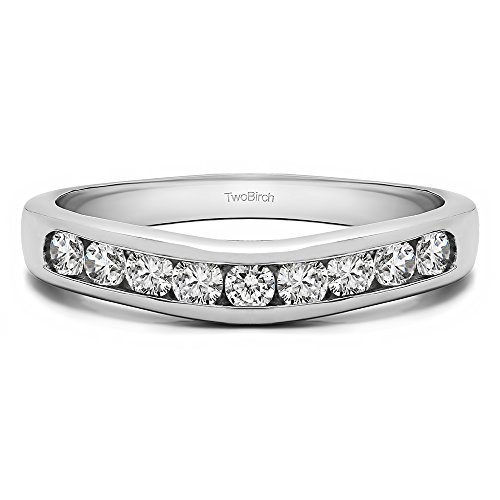 Diamonds (H,I2) Channel set Contour Curved Band In 14k White Gold(0.5Ct) Size 3 To 15 in 1/4 Size Interval