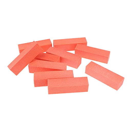 B Blesiya 10PCS Nail Art Care Buffer Buffing Sanding Block Files Grit Acrylic Tools for Natural/Artificial Nails Polish Trimming - Orange Red, 9.5x2.5x2.5 cm