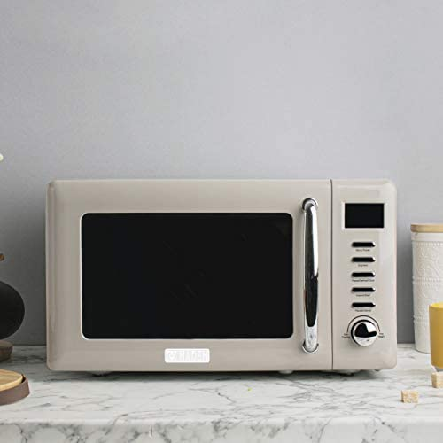 Haden 75030 Cotswold Vintage Retro 0.7 Cubic Foot/20 Liter 800 Watt Countertop Microwave Oven Kitchen Appliance With Turntable, Pull Handle, And 5 Power Levels, Putty