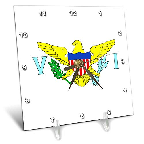 3dRose Macdonald Creative Studios - Islands - The Caribbean Flag for The United States Virgin Islands. - 6x6 Desk Clock -