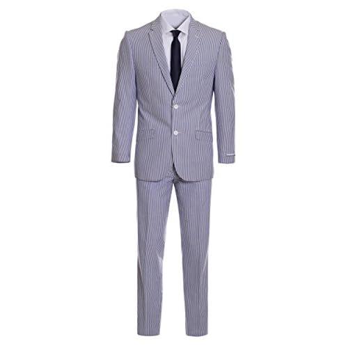 d9eee6c8a14dff Men's Premium Slim Fit Blue Pinstripe Cotton Seersucker Suit 85%OFF