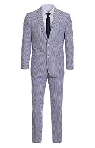 Men's Premium Slim Fit Blue Pinstripe Cotton Seersucker Suit (44 Regular) Seersucker Zip Jacket