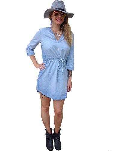 Dress Denim Chambray - Light Blue Chambray Denim Tie Shirt Tunic Dress by KK Fashions