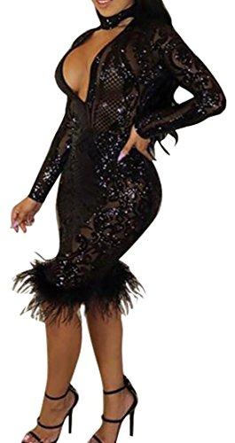 Cruiize Deep Black V Sexy Womens Bodycon Lace Stylish Dress Club Neck Panty FZxrAwFO