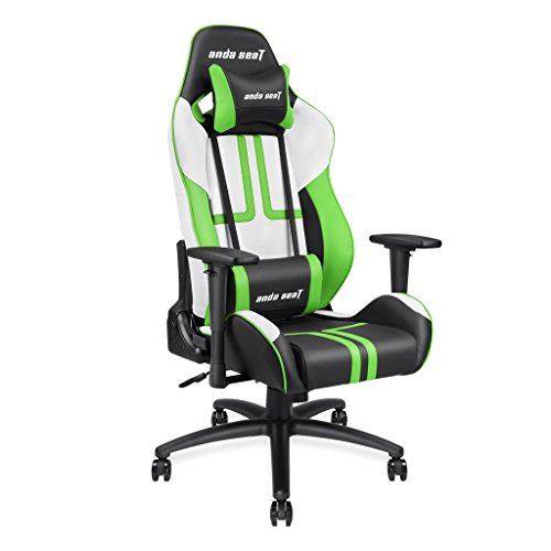 Andaseat Ergonomic Large Size High-back Recliner Office Chair,Gaming Racing Swivel Rocker Tilt E-sports Chair with Armrests/Backrest/Seat Adjustment with Lumbar Support and Headres (White/Black/Green) Andaseat