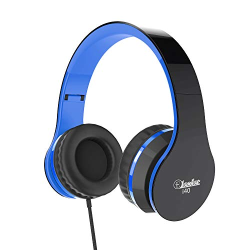 Elecder i40 Headphones with Microphone for Kids Children Girls Boys Teens Adults Foldable Adjustable Wired On Ear Headsets for iPad Cellphones Computer MP3/4 (Black/Blue)