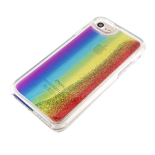 uCOLOR Rainbow Glitter Case Compatible for iPhone 6S/6/ iPhone 7/8 Waterfall Liquid Sparkling Quicksand Clear Protective Case Compatible for iPhone 8/7/6S/6(4.7