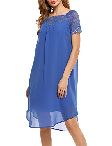 ACEVOG Casual Elegant Chiffon Lace Patchwork A Line Boat Neck Short Sleeve Dress