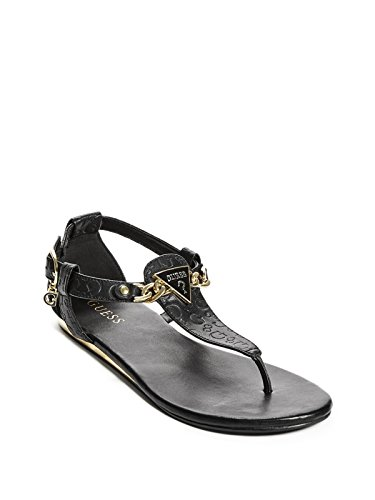 GUESS Factory Women's Sara Logo Chain T-Strap Sandals (Leather Guess Patent Sandals)