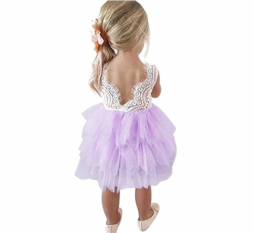 - Toddler Baby Flower Girls Princess Tulle Dress Lace Backless Tutu A-line Beaded Party Dresses Purple