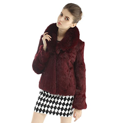 VEMOLLA Manteau Pour Femmes En Vritable Fourrure De Lapin Avec Bordure En Fourrure De Renard Rouge Vineux