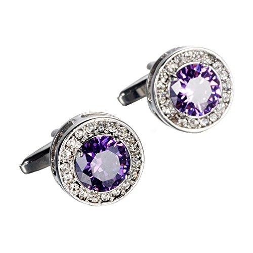 (WaMLFac Unique Stylish Modern Cufflinks Luxury Amethyst Crystal Cuff Links for Shirt Wedding Business)