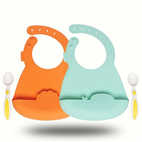 Qshare Waterproof Silicone Bibs - Easily Wipes Clean & Comfortable to Wear, 100% Food Grade Silicone and BPA-Free, Perfect Baby Shower Gift, Set of 2 Colors & 2 Utensils