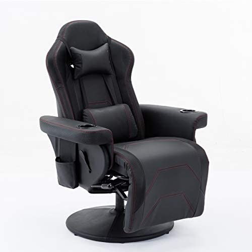 Depointer Life Ergonomic Gaming Chair Computer Game Chair with Headrest and Lumbar Support Vibration ,Black