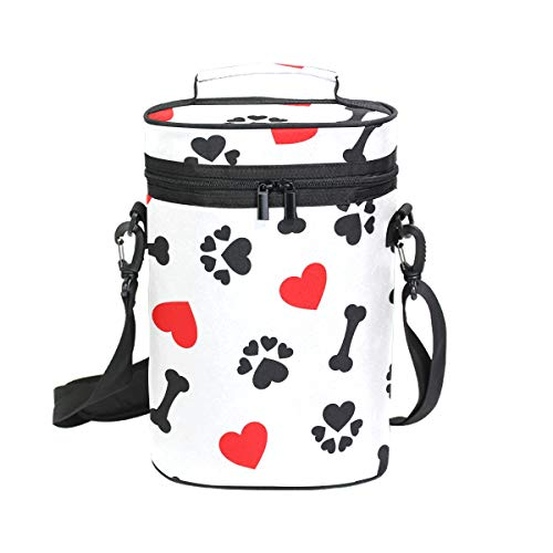 2 Bottle Insulated Wine Beach Bag Animal Dog Paw Print Bones Red Heart Print Wine Bags Reusable Travel Tote Bag For Beer Champagne,perfect Wine Lover's Gift