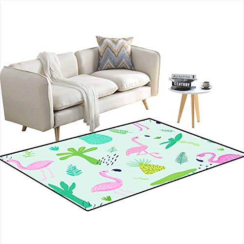 Girls Bedroom Rug Tropical Seamless Pattern with Cute Flamingo and Palm Leaves Childish Summer Background for Wallpaper Fabric Wrapping Pa ()