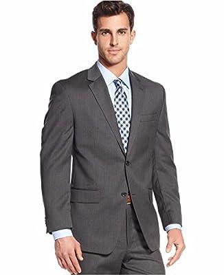 Calvin Klein Slim Charcoal Textured 2 Button Flt Front New Men's Suit Set