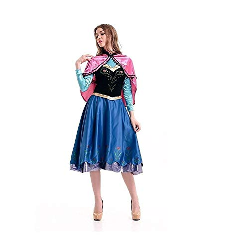 Peachi Adult Woman Costume Anna Princess Dress with Cape for Halloween Cosplay Party, Blue, Medium]()