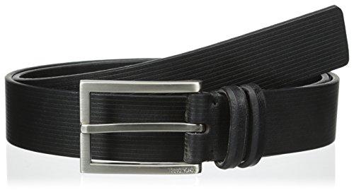 Calvin Klein Embossed Belt (Calvin Klein Men's 32mm Flat Strap Belt With Embossed Lines, Black,)