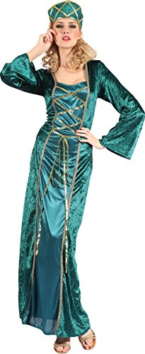 Adults Fancy Dress Party Medieval Fantasy Queen Elf Gown Women's Complete Outfit
