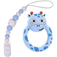 Juguetes para la dentición del bebé Mordedor de silicona libre de BPA Chew Egg con chupete Clip lindo y efectivo para aliviar el dolor Raccoo para niños o niñas con estilo (Rosado) (Azul)