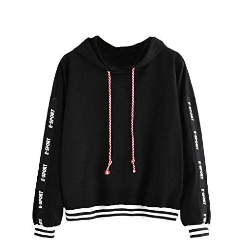 [해외]Exteren Womens Letters 프린트 느슨한 캐주얼 긴 소매 끌기 후드 티 스웨터 점퍼 풀오버 ??탑스/Exteren Womens Letters Print Loose Casual Long Sleeve Drawstring Hoodie Sweatshirt Jumper Pullover Tops