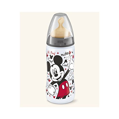 Nuk Biberon First Choice Disney Mickey Mouse 0%BPA Latex 2L 300 ml. Rojo o Negro