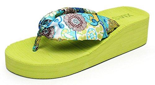 Sfnld Kvinna Trendig Sommar Strand Bohemisk Flip Flop Plattform Kilklack Sandaler Rem Tofflor Grönt