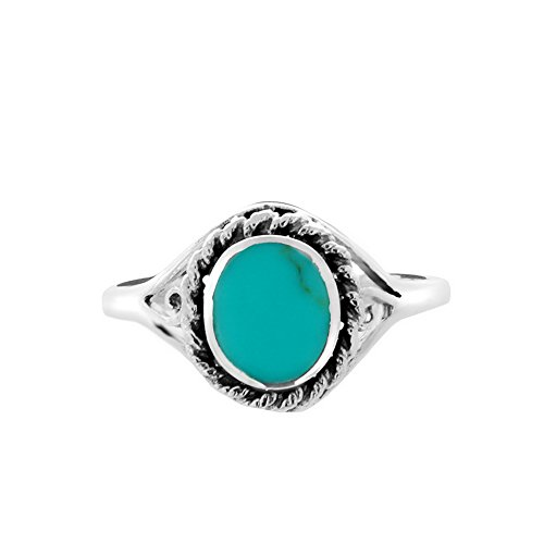 Chuvora 925 Oxidized Sterling Silver Oval Rope Blue Turquoise Stone Simple Statement Ring, Size 7