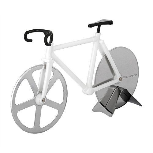 Bicycle Pizza Cutter - Original PIZZA WHEELIE - Dual Stainless Steel Bike Wheels- Includes Kitchen Display Stand (Bike Pizza Cutter Fixie)