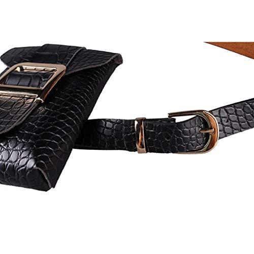 Di Cintura Borsa Elegante Piccola Marsupio Regolabile Tracolla Coccodrillo Con Donna Nero modello Moda vqwYYC