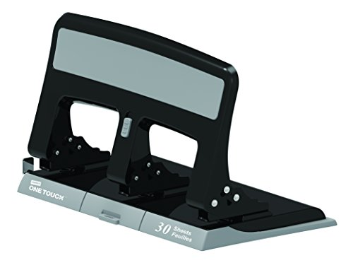Staples 884279 One-Touch 26614 Heavy-Duty 3-Hole Punch 30-Sheet Capacity Black
