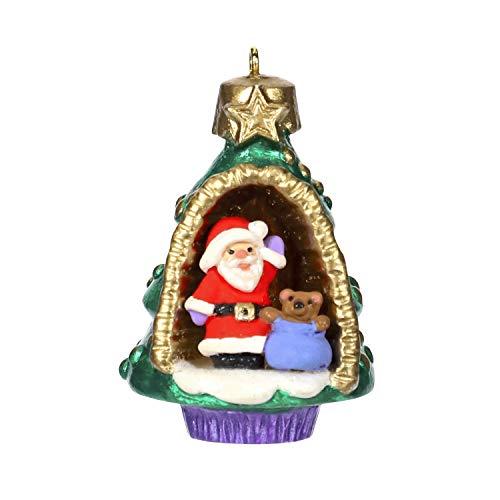 (Hallmark Keepsake Mini Christmas Ornament 2019 Year Dated A A World Within, Santa and Teddy Bear in Tree Miniature, 1.56