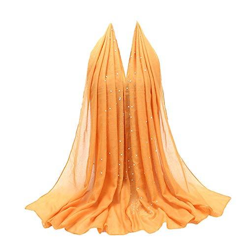 Fashion Chiffon Pearl Scarf, Witspace Ladies Fashion Muslim Hijab Jersey Shawl Long Head Wrap Islamic (0835 Yellow) ()