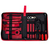 TLEEP 19 Pieces Car Panel Removal Tools Kit,Auto Trim Door Panel Window Molding Upholstery Fastener Retainer Clip Tool,Pliers and Pry Bar Set (Red)