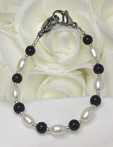 White Pearl and Black Onyx Medical Medic Alert Replacement ID Bracelet! (MA020) ()