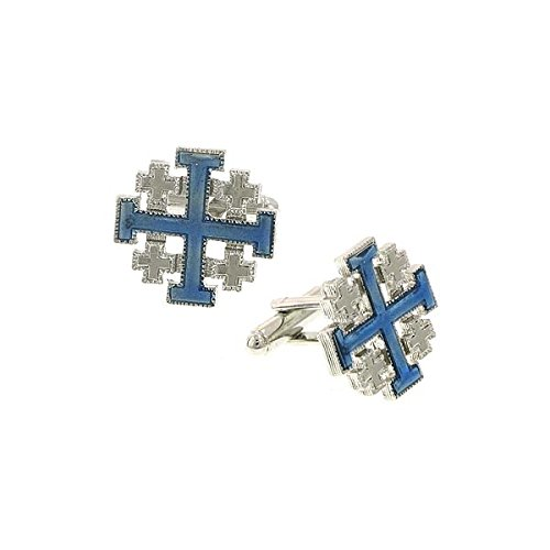 Enamel Cross Cufflinks - Silver-Tone Blue Enamel Jerusalem Cross Cuff Links
