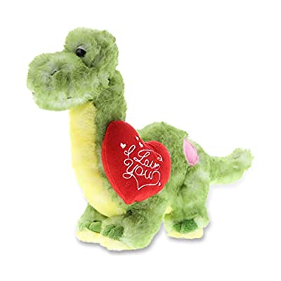 DolliBu Green Dinosaur I Love You Valentines Stuffed Animal - Heart Message - 10 inch - Wedding, Anniversary, Date Night, Long Distance, Get Well Gift for Her, Him, Kids - Super Soft Plush: Toys & Games