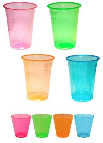 Glow Shot Glass (Plastic Shot Glasses 2oz- 40 Count and Soft Plastic 16oz Cups- 40 Count; Assorted Brights Neon by Party Essentials; Bundled by Oasis Mercantile)