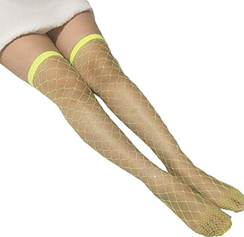 Women's Sexy High Waist Tight Sparkle Rhinestone Fishnet Stockings Pantyhose (Yellow(Thigh High Stocking)) (Pantyhose Neon Fishnet)