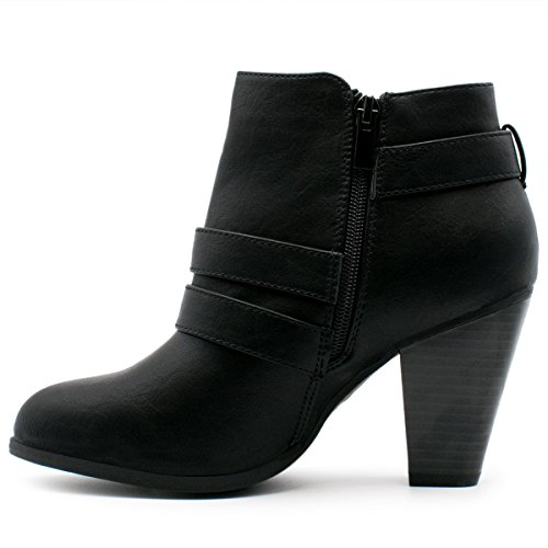 Premier Standard Damen Schnalle Block Block Heel Ankle Booties Premier Schwarz *