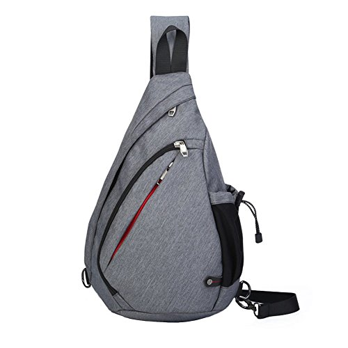 Price comparison product image Ultrafun Sling Shoulder Backpack Crossbody Rope Bags Daypack Front Chest Sling Pack with Water Bottle Holder for Men Women Travel Cycling Hiking (Grey)