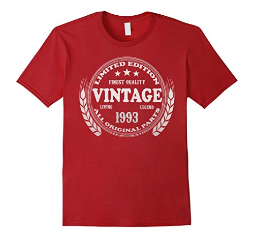 Mens Vintage 1993 - 25th Birthday Gift 25 Year Old B-day T-shirt Medium Cranberry