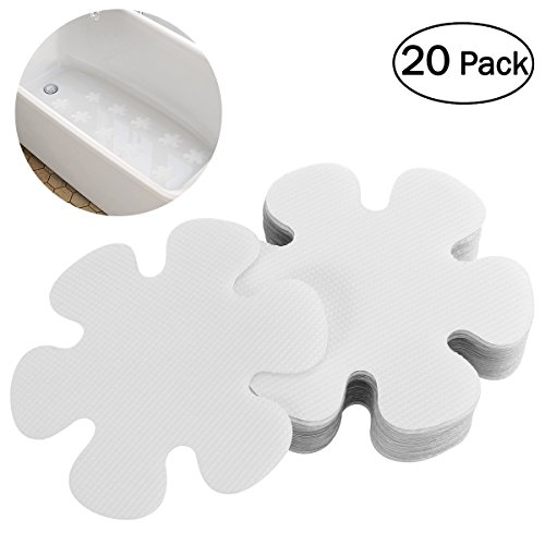 OUNONA 20PCS Flower Shape Anti-slip Bathtub Stickers Safety Bath Shower Treads 10CM ()