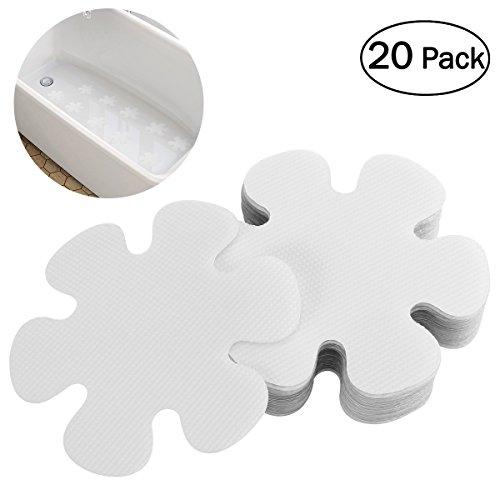 - OUNONA 20PCS Flower Shape Anti-slip Bathtub Stickers Safety Bath Shower Treads 10CM (Clear)