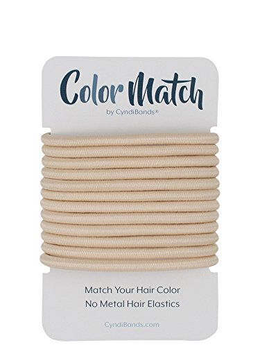 Color Match by Cyndibands No-Metal 4mm Elastic Hair Ties in Solid Colors - 12 Count (Beige Blonde) (Hair Color Match)
