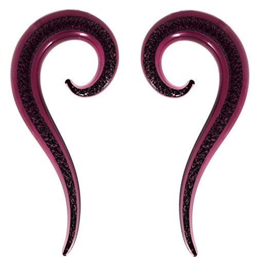 BYB Plugs Pair of Purple Glitter Spine Glass Spiral Ear Tapers Stretching Jewelry (2 Gauge (6mm))