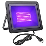 FAMURS 72W UV LED Black Light Flood Light with US Plug(5.9ft Cable), IP66 Waterproof, for Blacklight Party, Stage Lighting, Aquarium, Body Paint,Glow in The Dark, Fluorescent Poster, Neon Glow