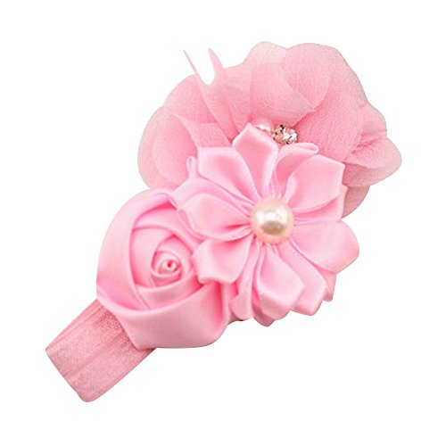 Sanwood Baby Girl Headband Infant Chiffon Headdress Faux Pearl Hairband