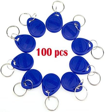 YAVIS 125 kHz RFID Proximity ID EM4100 EM4102 Zugangskontrolle Schlüsselanhänger Schlüsselanhänger Keyfobs Smart ID Keycard für Tür Elektroschloss System NFC Token-Tag 100 Stück blau